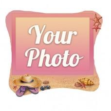 Деревянный магнит под полиграфическую вставку Песок и соломенная шляпа