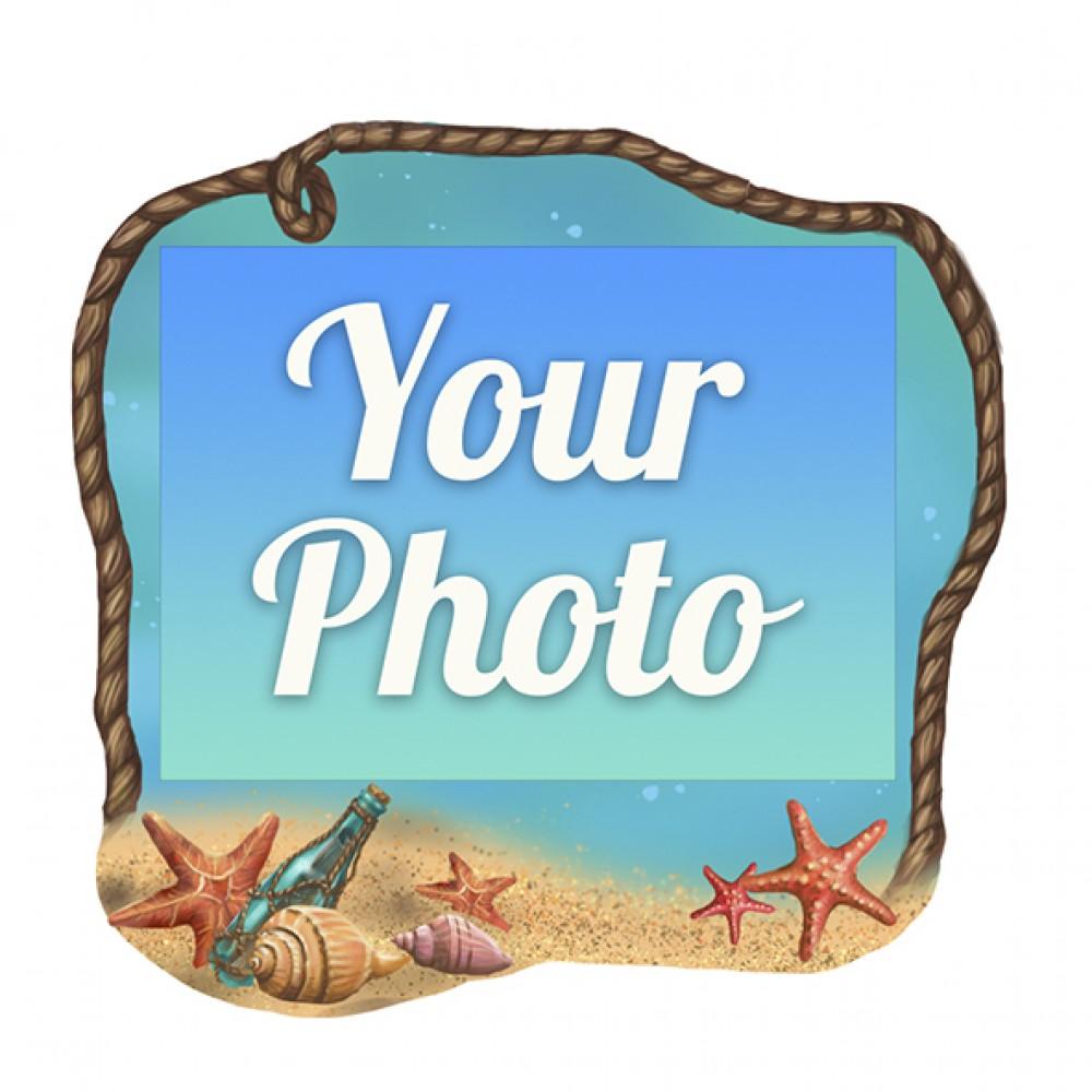Деревянный магнит под полиграфическую вставку Песок и бутылка с посланием
