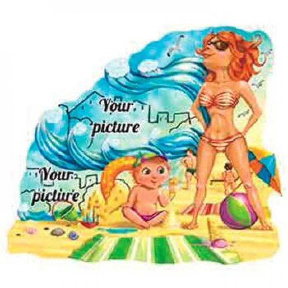 Керамическая заготовка для магнита - Пляж и девушка