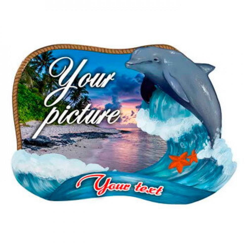 Керамическая заготовка для магнита - Рамка с дельфином