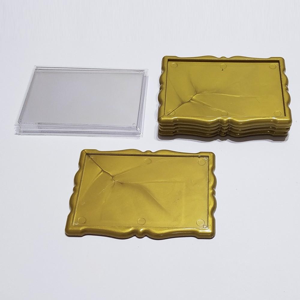 Акриловая заготовка для магнита Фигурная рамка 92*65 мм золотистая