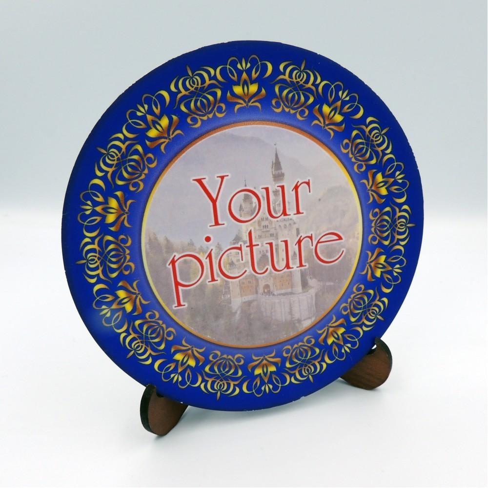 Сувенирная тарелочка диаметром 85 мм с магнитом платформа