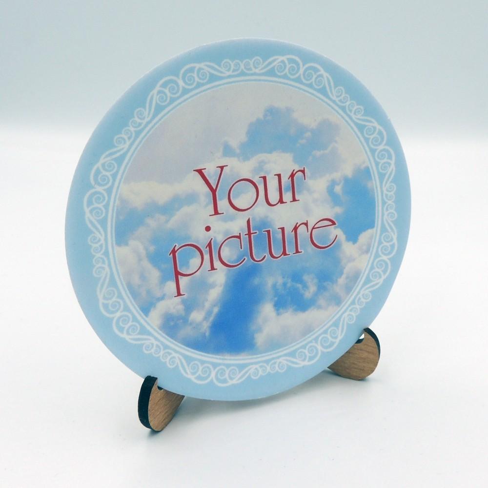 Сувенирная тарелочка диаметром 85 мм с магнитом плоская