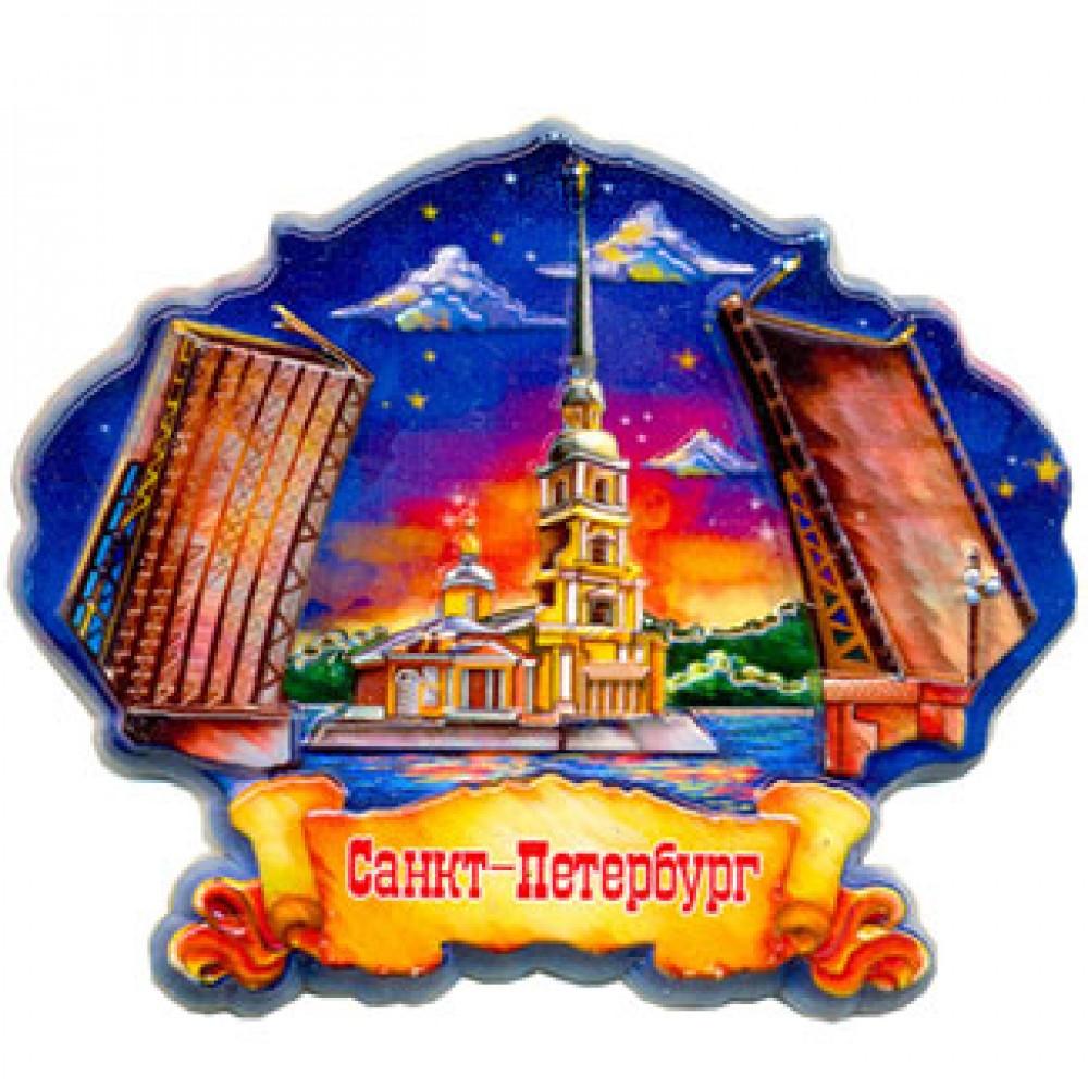 Керамические магнитики на холодильник. Санкт-Петербург. Вечер.