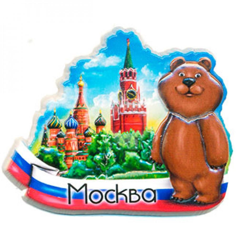 Магниты 3D керамические. Кремль и мишка