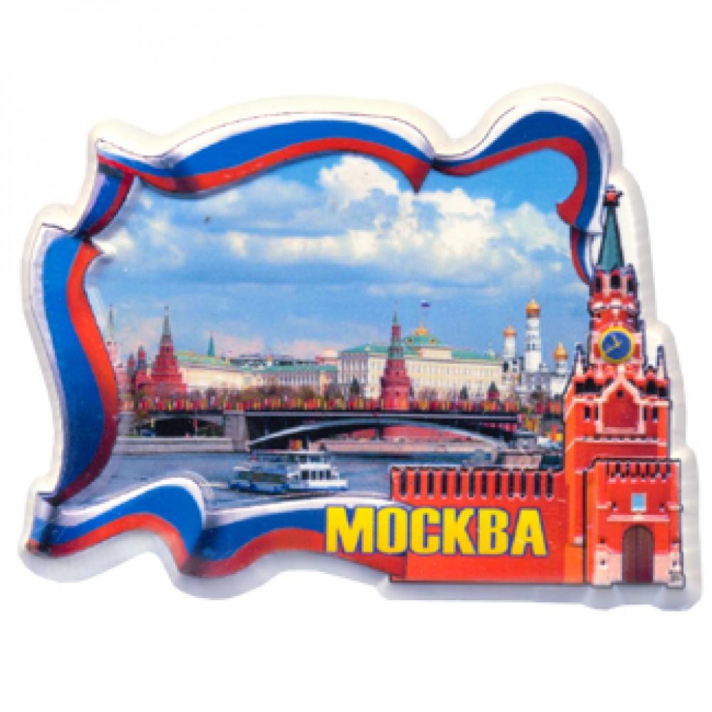 Керамические магниты. Москва река. Кремль в рамке