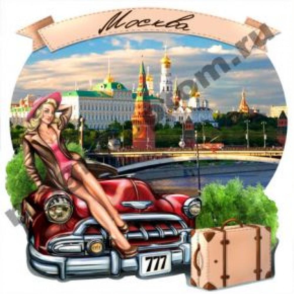 Керамические магниты. Девушка на машине. Москва